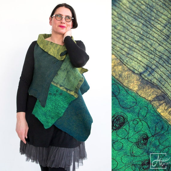 Stunning asymmetric wearable Art Vest - Softest Felt Merino Wool 4 in 1 Woman Vest - Reversible Green Blue one of a kind garment / Paris