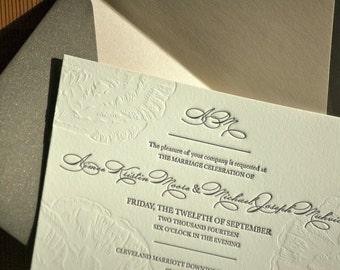 Wedding Invitations Letterpress Blind Embossed Peonies