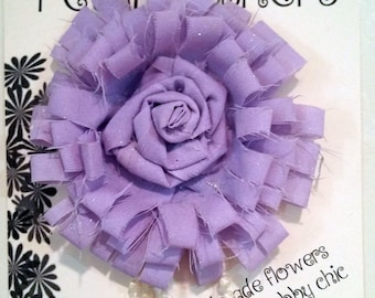 Shabby Chic light purple fabric flower with sparkles