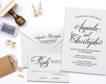 Wedding Invitation Stamp Suite. Custom Wedding Stamps, DIY Wedding Stamp, RSVP Stamp, Return Address Stamp, Custom Rubber Stamp Set.