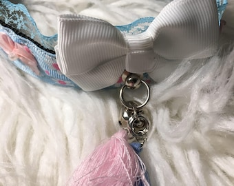 Pastel Pink Blue Lace Kitty Collar
