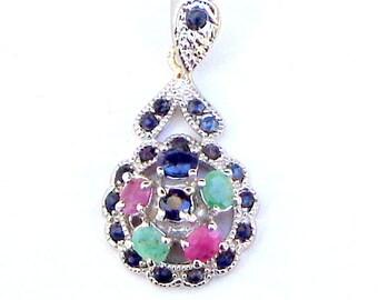 Art Deco, Ruby, Emerald, Blue Sapphire, Filigree, Sterling Silver Pendent, Natural Gemstones