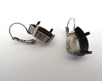 1 Pair Antique Silver Plated Lever Back Earrings for Swarovski 18mm 4320