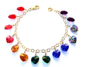 Multicolor crystal heart bracelet, Swarovski crystal rainbow hearts, Valentine's Day gift, gold filled wire wrapped, rainbow crystal hearts