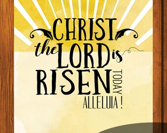 Yellow Watercolor Sunshine / 4x4 / 6x6 / 12x12 Print / Easter Celebration / Inspirational / Instant download / Christ the Lord is Risen