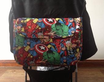pram baby changing bag diapers nappies avengers marvel super heroes cptton waterproof new handmade comic