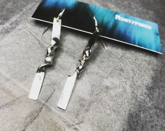 Handmade twisted silver dangle earrings