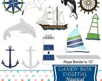 Nautical Ocean Clipart, Summer Clip Art, Lighthouse, Dolphin, Seagull, Orca, Sailboat, Schooner - Commercial Use OK