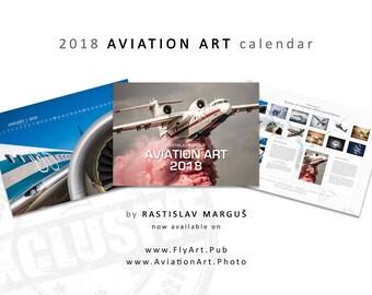Aviation Art Calendar 2018, Aviation Art, Airplane Calendar, Wall Calendar, Poster Calendar, Pilot Gifts, Wall Decor, Airplane Office Decor