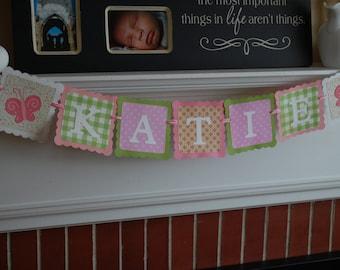 Name Banner, Butterfly Name Banner, Butterfly Party Supplies, Butterfly Nursery, Birthday, Decorations Pinks, Green