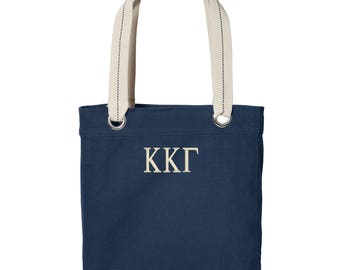 Kappa Kappa Gamma Cotton Canvas Tote, KKG Tote Bag, Kappa Kappa Gamma Book Bag