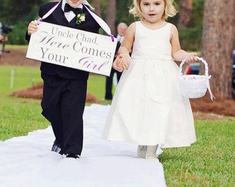 Here Comes Your Girl with Uncle (Grooms Name) and/or And they lived Happily ever after. 8X16 in, Wedding Sign. Ring Bearer, Flower Girl.