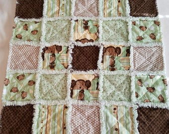 Green and brown rag quilt lovey / security blanket with monkeys