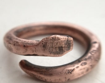 Thick Copper Snake Ring - Oxidized & Textured Rustic Serpent Ring for Him or Her - 7th Anniversary Gift - Unique Chinese Astrology Jewelry