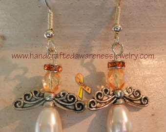 Orange Awareness Earrings, Guardian Angel Earrings, Lupus Awareness, MS Awareness, Leukemia Awareness, CRPS Awareness, RSD