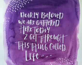 Watercolor Handwritten Prince Quote Let's Go Crazy Dearly Beloved Purple Rain Art Poster Print 11x17