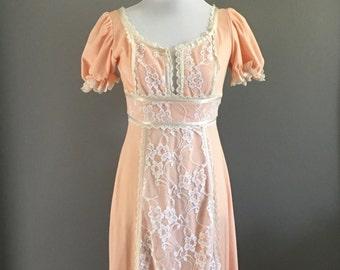 Peach & White Lace Maxi Dress - Boho Vintage Dress - XS