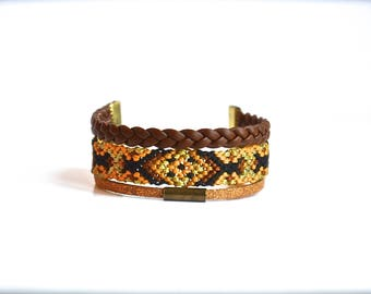 Black, Brown and gold Friendship Bracelet, braid and faux leather cord