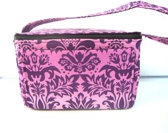 6 inch Super Large Fabric Coupon Organizer Coupon Box - With ZIPPER CLOSER Purple and Pink Fleur-de-Lis