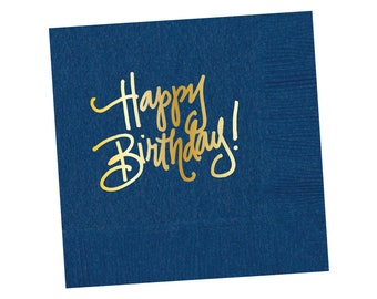 Napkins | Happy Birthday - Navy (in stock)
