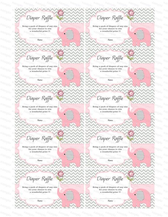 Baby Shower Games Elephant Baby Shower Diaper Raffle Ticket