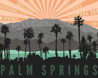 Palm Springs, California - Palm Trees & Mountains - Lantern Press Artwork (Art Print - Multiple Sizes Available)