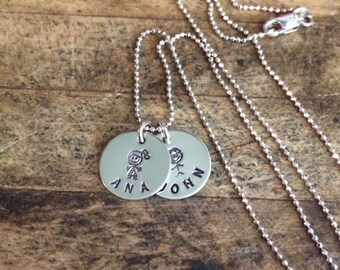Mother's Necklace, New Mom Necklace, Gift for Mom, Anniversary Gift, Hand Stamped, Sterling Silver