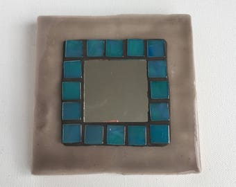 Mosaic Tile Mirror - Grey and Iridescent Turquoise