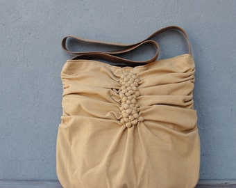 Bubble Smocked Bag with Leather Strap, Textured pleaded Tote