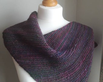 """Hand spun, hand knitted boomerang shawl. Made from 100% merino wool in colourway """"Giggleswick"""" from Wingham Wool"""