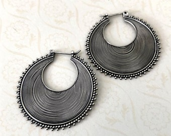 Round Disc record wire sterling silver earring, balinese earring