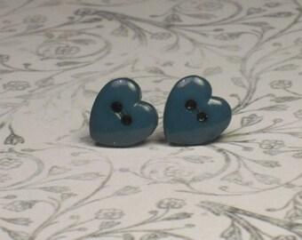 Teal Heart Button Stud Earrings