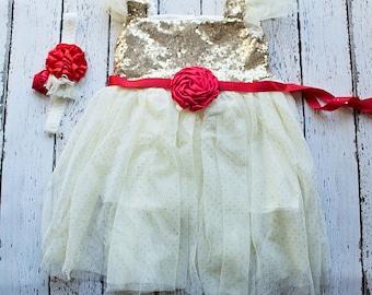 Girls Christmas Dress dress, Red Flower Girl Dress, Gold Dress, Christmas dress, Rustic Flower Girl Dress, Flower Girl Dresses