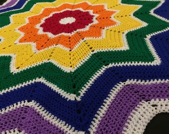 Giant bright rainbow 12 point star blanket // rainbow star blanket // huge star blanket