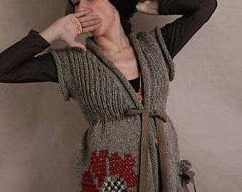 Women Cardigan, Sleeveless Sweater, Ethno Clothing, Winter Cardigan, Casual Sweater, Embroidered Cardigan, Wool Sweater, Organic Clothing