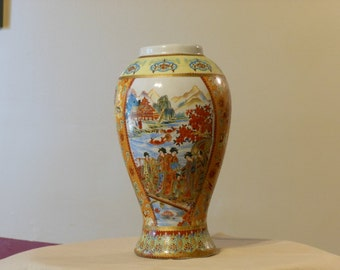 Chinese Moriage 9-inch Vase