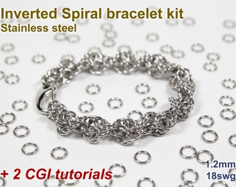 Inverted Spiral Bracelet Kit, Chainmaille Kit, Stainless Steel, Chainmail Kit, Jump Rings, Lobster Clasp, Chainmaille Tutorial, Spiral Chain