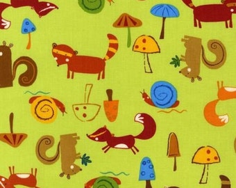 SALE/CLEARANCE Amy Schimler, Animal Party Too, Forest Animals Earth Green Fabric - REMNANT Size 30 Inches by 44 Inches