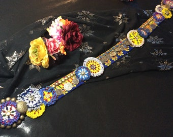 Tribal Medallion Belt with Banjara Embroidery - PAYMENT PLAN available - Tribal Fusion ATS Bellydance Dance Boho Gypsy Burning Man Festival