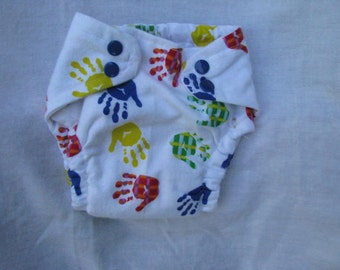 Colorful Handprints Fitted Cloth Diaper Size Small