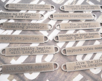 Quote Pendant Connector Antiqued Silver Oil Brushed Finish 1 PIECE Word Pendant Connector Live in the Moment