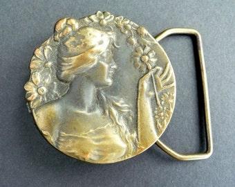 Art Nouveau Revival Brass Buckle Lady Flowers Bergamot Brass Works from TreasuresOfGrace