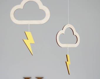 Baby mobile, lightning bolt mobile, cloud mobile, nursery mobile, hanging mobile, nursery decor, baby gift, thunder mobile