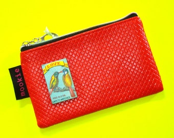 Love Birds Bold Red Vintage Matchbook Cover Blue Zippered Pouch Coin Purse Cosmetics Bag
