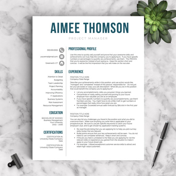 Creative Resume Template For Word  Pages   And  Page