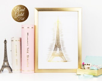 Eiffel Tower, Real Gold Foil Print,  Gold Paris Art, Paris Wall Decor, Home Office Decor, Gold Eiffel Tower, Paris Art Decor, Love Wall Art.