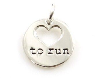 Love to Run Charm for Runners Sterling Silver