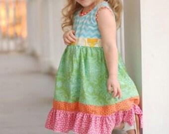 Blue Ribbon Dress PDF Sewing Pattern, including sizes 12 months-14 years, Ruffle Dress, Girls Sewing Pattern