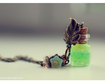 Gardening gift, Glass bottle pendant.Leaf necklace. green necklace, cute necklace, bottle necklace, miniature jewelry, mother gift for women