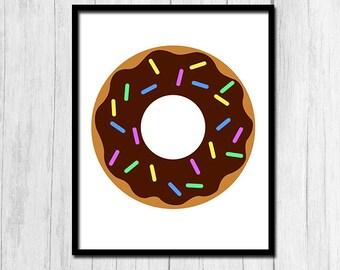 Donut Print Digital Art Chocolate Donut Printable Donuts Print Kitchen Wall Decor Chocolate Frosting Print Digital Art Food Printables